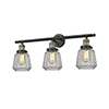 This item: Chatham Black Antique Brass 30-Inch Three-Light LED Bath Vanity with Clear Fluted Novelty Glass