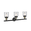 This item: Small Bell Black Antique Brass 30-Inch Three-Light Bath Vanity with Clear Bell Glass