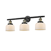 This item: Large Bell Black Antique Brass 32-Inch Three-Light Bath Vanity with Matte White Cased Dome Glass