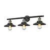 This item: Railroad Black Antique Brass Three-Light LED Bath Vanity with Matte Black Metal Shade