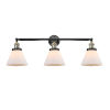 This item: Large Cone Black Antique Brass Three-Light LED Bath Vanity with Matte White Cased Glass