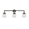 This item: Small Bell Black Antique Brass Three-Light Bath Vanity with Clear Glass