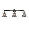 This item: Small Cone Black Antique Brass Three-Light LED Bath Vanity with Smoked Glass
