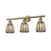 This item: Chatham Brushed Brass Three-Light Bath Vanity with Mercury Fluted Novelty Glass