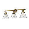 This item: Large Cone Brushed Brass Three-Light LED Bath Vanity with Seedy Cone Glass