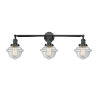 This item: Franklin Restoration Matte Black 34-Inch Three-Light Bath Vanity with Clear Glass Shade