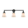 This item: Small Cone Matte Black Three-Light Bath Vanity with Matte White Cased Glass
