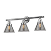 This item: Large Cone Polished Chrome Three-Light Bath Vanity with Smoked Cone Glass