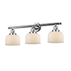 This item: Large Bell Polished Chrome Three-Light LED Bath Vanity with Matte White Cased Dome Glass
