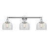 This item: Large Bell Polished Chrome Three-Light Bath Vanity with Clear Glass
