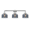 This item: Large Bell Polished Chrome Three-Light Bath Vanity with Smoked Glass