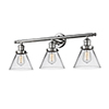 This item: Large Cone Polished Nickel Three-Light LED Bath Vanity with Clear Cone Glass