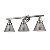 This item: Large Cone Polished Nickel Three-Light LED Bath Vanity with Smoked Cone Glass