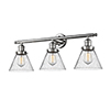 This item: Large Cone Polished Nickel Three-Light Bath Vanity with Seedy Cone Glass