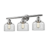 This item: Large Bell Polished Nickel Three-Light LED Bath Vanity with Clear Dome Glass