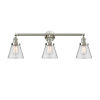 This item: Franklin Restoration Brushed Satin Nickel 30-Inch Three-Light Bath Vanity with Clear Small Cone Shade