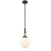 This item: Franklin Restoration Black Antique Brass Eight-Inch LED Mini Pendant with Matte White Cased Beacon Shade and Wire