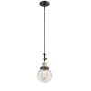 This item: Franklin Restoration Black Antique Brass Six-Inch One-Light Mini Pendant with Clear Beacon Shade and Wire