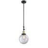 This item: Franklin Restoration Black Antique Brass Eight-Inch One-Light Mini Pendant with Clear Beacon Shade and Wire