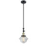 This item: Franklin Restoration Black Antique Brass Eight-Inch LED Mini Pendant with Clear Small Oxford Shade and Wire