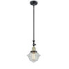 This item: Franklin Restoration Black Antique Brass Eight-Inch LED Mini Pendant with Seedy Small Oxford Shade and Wire