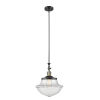 This item: Franklin Restoration Black Antique Brass 12-Inch One-Light Pendant with Clear Large Oxford Shade and Wire