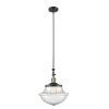 This item: Franklin Restoration Black Antique Brass 12-Inch One-Light Pendant with Seedy Large Oxford Shade and Wire