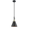 This item: Franklin Restoration Matte Black Antique Brass One-Light Mini Pendant with Appalachian Matte Black Metal Shade and Wire