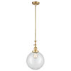 This item: Franklin Restoration Satin Gold 10-Inch LED Pendant with Clear Beacon Shade and Wire
