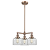 This item: Large Bell Antique Copper Three-Light Chandelier with Clear Dome Glass