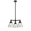 This item: Large Cone Oiled Rubbed Bronze Three-Light LED Chandelier with Clear Cone Glass