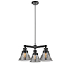 This item: Large Cone Oiled Rubbed Bronze Three-Light Chandelier with Smoked Cone Glass