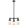This item: Small Bell Oiled Rubbed Bronze Three-Light LED Chandelier with Matte White Cased Bell Glass