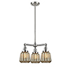 This item: Chatham Brushed Satin Nickel Three-Light Chandelier with Mercury Fluted Novelty Glass