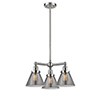 This item: Large Cone Brushed Satin Nickel Three-Light Chandelier with Smoked Cone Glass