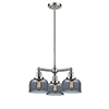 This item: Large Bell Brushed Satin Nickel Three-Light Chandelier with Smoked Dome Glass
