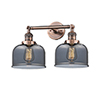This item: Large Bell Antique Copper Two-Light Bath Vanity with Smoked Dome Glass