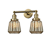 This item: Chatham Brushed Brass Two-Light LED Bath Vanity with Mercury Fluted Novelty Glass