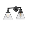 This item: Large Cone Black 18-Inch Two-Light Bath Vanity with Clear Cone Glass