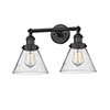 This item: Large Cone Black 18-Inch Two-Light Bath Vanity with Seedy Cone Glass