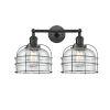 This item: Large Bell Cage Matte Black Two-Light LED Bath Vanity