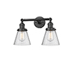 This item: Small Cone Oiled Rubbed Bronze 16-Inch Two-Light LED Bath Vanity with Seedy Cone Glass