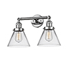 This item: Large Cone Polished Chrome Two-Light LED Bath Vanity with Clear Cone Glass