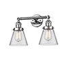 This item: Small Cone Polished Chrome Two-Light Bath Vanity with Clear Cone Glass