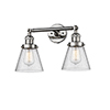 This item: Small Cone Polished Nickel Two-Light LED Bath Vanity with Seedy Cone Glass