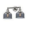 This item: Large Bell Polished Nickel Two-Light LED Bath Vanity with Smoked Dome Glass