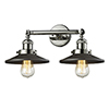 This item: Railroad Polished Nickel Two-Light LED Wall Sconce with Matte Black Metal Shade