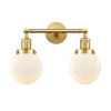 This item: Franklin Restoration Satin Gold 17-Inch Two-Light Bath Vanity with Matte White Glass Shade