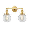 This item: Franklin Restoration Satin Gold 17-Inch Two-Light LED Bath Vanity with Clear Glass Shade