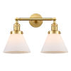 This item: Franklin Restoration Satin Gold 18-Inch Two-Light LED Bath Vanity with Matte White Glass Shade